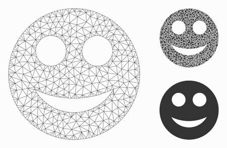 Mesh positive smiley model with triangle mosaic icon. Wire frame polygonal mesh of positive smiley. Vector mosaic of triangle elements in different sizes, and color hues.