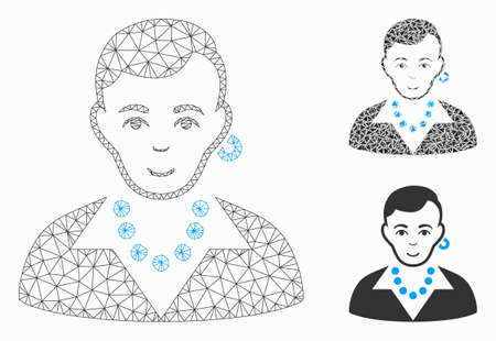 Mesh trendy gay model with triangle mosaic icon. Wire carcass triangular mesh of trendy gay. Vector mosaic of triangle elements in various sizes, and color tinges. Abstract 2d mesh trendy gay,