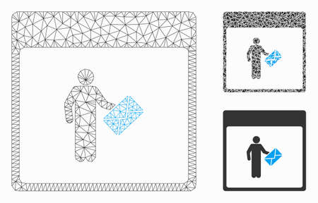 Mesh postman calendar page model with triangle mosaic icon. Wire carcass triangular mesh of postman calendar page. Vector composition of triangle parts in various sizes, and color tones. Ilustração