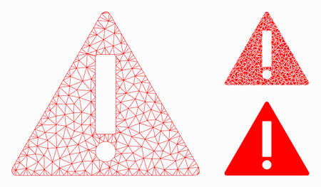 Mesh warning model with triangle mosaic icon. Wire carcass polygonal mesh of warning. Vector mosaic of triangle elements in various sizes, and color tints. Abstract 2d mesh warning,