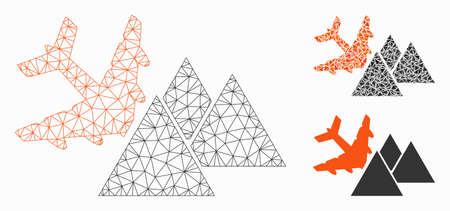 Mesh piramides airplane crash model with triangle mosaic icon. Wire carcass triangular mesh of piramides airplane crash. Vector mosaic of triangle elements in variable sizes, and color tints.