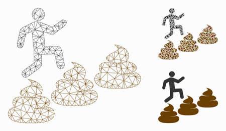 Modello di livello di merda che scala la persona in rete con l'icona del mosaico del triangolo. Rete poligonale con struttura metallica di una persona che si arrampica sui livelli di merda. Mosaico vettoriale di elementi triangolari di dimensioni variabili e sfumature di colore.