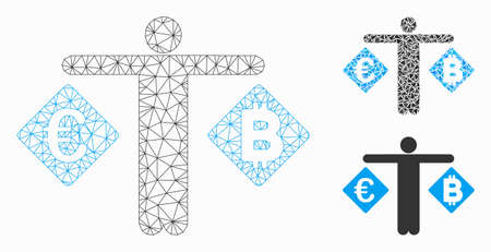 Mesh person compare Euro and Bitcoin model with triangle mosaic icon. Wire frame triangular mesh of person compare Euro and Bitcoin. Vector mosaic of triangle elements in different sizes, Illustration