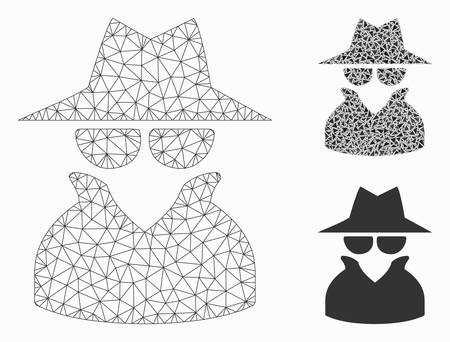 Mesh spy model with triangle mosaic icon. Wire carcass polygonal mesh of spy. Vector mosaic of triangle parts in different sizes, and color tones. Abstract 2d mesh spy, built from polygonal grid.