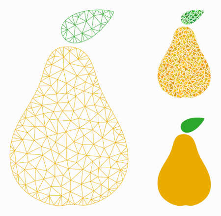 Mesh pear model with triangle mosaic icon. Wire frame polygonal mesh of pear. Vector mosaic of triangle parts in variable sizes, and color shades. Abstract 2d mesh pear, built from polygonal grid.