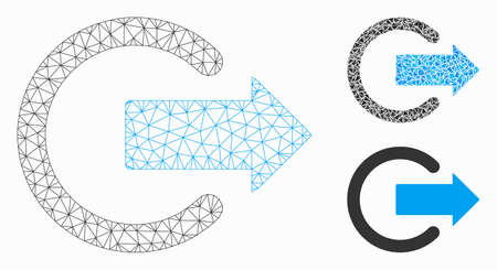 Mesh logout model with triangle mosaic icon. Wire carcass triangular mesh of logout. Vector mosaic of triangle parts in various sizes, and color tints. Abstract 2d mesh logout, Illustration