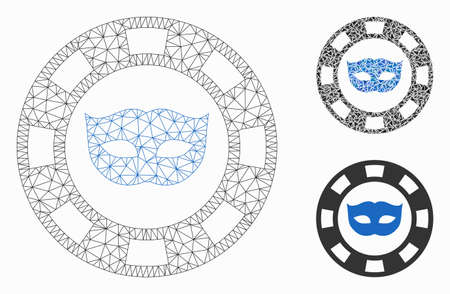 Mesh private mask casino chip model with triangle mosaic icon. Wire carcass triangular mesh of private mask casino chip. Vector composition of triangles in different sizes, and color tones.