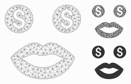 Mesh smiley model with triangle mosaic icon. Wire frame polygonal mesh of smiley. Vector mosaic of triangles in variable sizes, and color shades.