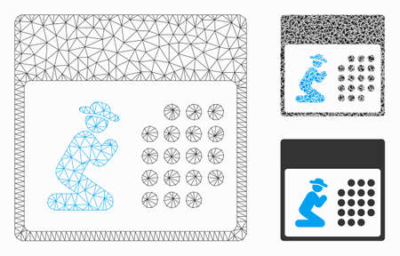 Mesh pray calendar model with triangle mosaic icon. Wire frame triangular mesh of pray calendar. Vector mosaic of triangle elements in variable sizes, and color shades.