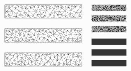 Mesh menu items model with triangle mosaic icon. Wire frame triangular mesh of menu items. Vector mosaic of triangle parts in various sizes, and color tinges. Abstract 2d mesh menu items,