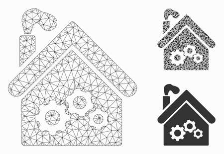 Mesh plant building model with triangle mosaic icon. Wire frame polygonal mesh of plant building. Vector mosaic of triangle elements in variable sizes, and color tints.