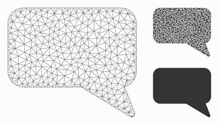 Mesh message cloud model with triangle mosaic icon. Wire frame triangular mesh of message cloud. Vector mosaic of triangle elements in different sizes, and color tinges.