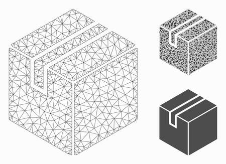 Mesh product package box model with triangle mosaic icon. Wire frame polygonal mesh of product package box. Vector collage of triangle parts in different sizes, and color hues.