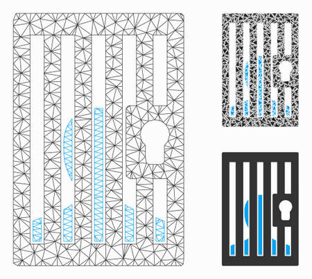 Mesh prison locked door model with triangle mosaic icon. Wire carcass triangular mesh of prison locked door. Vector mosaic of triangle parts in different sizes, and color tones.
