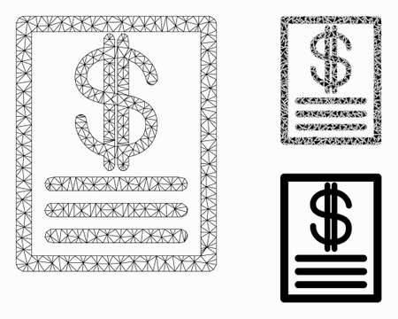 Mesh price-list model with triangle mosaic icon. Wire carcass triangular mesh of price-list. Vector mosaic of triangle parts in variable sizes, and color hues. Abstract flat mesh price-list,