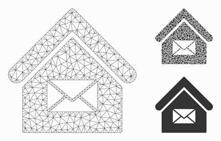 Mesh post office model with triangle mosaic icon. Wire frame polygonal mesh of post office. Vector collage of triangle elements in variable sizes, and color tinges. Abstract 2d mesh post office, Illustration