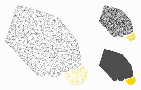 Mesh hand pay coin model with triangle mosaic icon. Wire carcass polygonal mesh of hand pay coin. Vector mosaic of triangle parts in variable sizes, and color shades. Abstract 2d mesh hand pay coin,