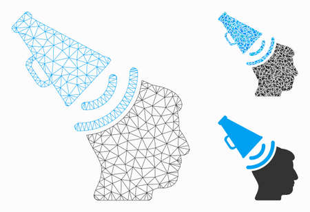 Mesh propaganda megaphone model with triangle mosaic icon. Wire frame polygonal mesh of propaganda megaphone. Vector mosaic of triangles in variable sizes, and color shades.
