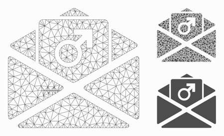 Mesh  enhancement spam model with triangle mosaic icon. Wire frame triangular mesh of enhancement spam. Vector mosaic of triangle parts in various sizes, and color hues. Illustration