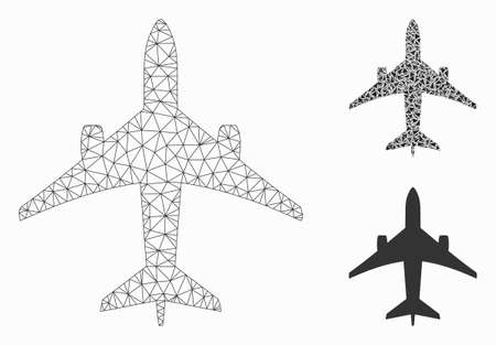 Mesh jet plane model with triangle mosaic icon. Wire carcass polygonal mesh of jet plane. Vector composition of triangle parts in variable sizes, and color tints. Abstract flat mesh jet plane,