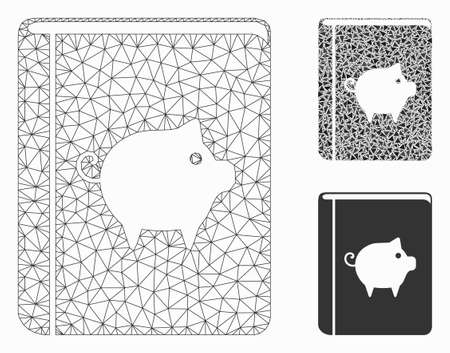 Mesh pig handbook model with triangle mosaic icon. Wire carcass polygonal network of pig handbook. Vector mosaic of triangle parts in various sizes, and color hues. Abstract flat mesh pig handbook,