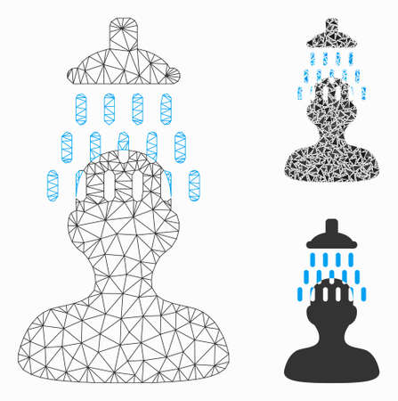 Mesh man under shower model with triangle mosaic icon. Wire carcass triangular mesh of man under shower. Vector mosaic of triangle parts in variable sizes, and color hues.