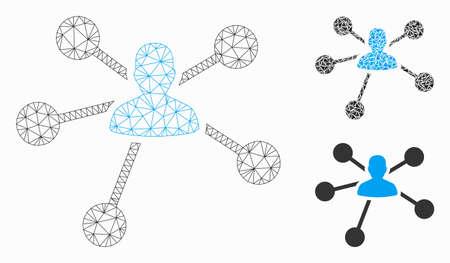 Mesh-Personenbeziehungsmodell mit Dreieck-Mosaik-Symbol. Polygonales Drahtgitternetz von Personenbeziehungen. Vektorzusammensetzung von Dreieckselementen in variablen Größen und Farbtönen.