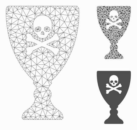 Mesh poison cup model with triangle mosaic icon. Wire frame triangular mesh of poison cup. Vector composition of triangle elements in different sizes, and color tones. Abstract flat mesh poison cup,