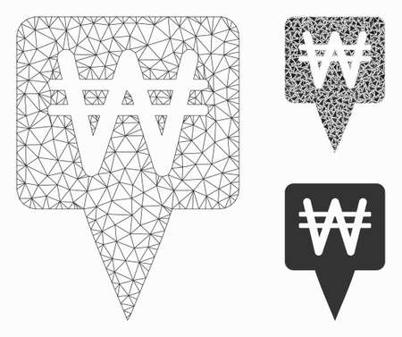 Mesh Korean Won map pointer model with triangle mosaic icon. Wire carcass triangular mesh of Korean Won map pointer. Vector collage of triangle parts in variable sizes, and color tints.