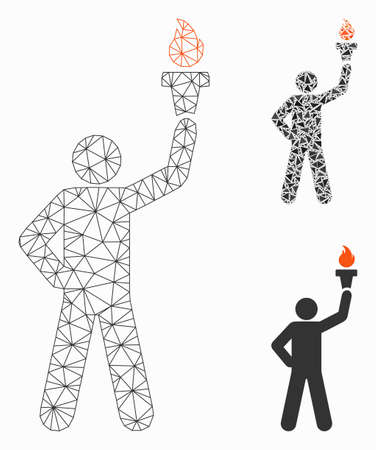 Mesh leader with freedom torch model with triangle mosaic icon. Wire carcass polygonal mesh of leader with freedom torch. Vector mosaic of triangle parts in various sizes, and color tones.