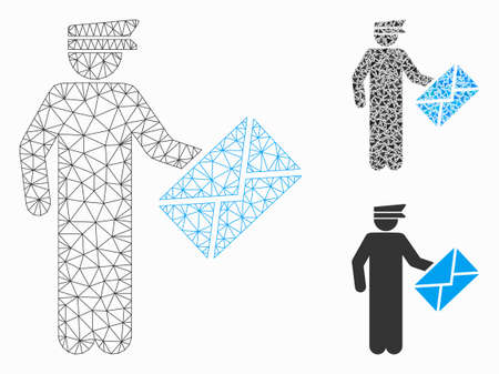 Mesh postman model with triangle mosaic icon. Wire frame polygonal mesh of postman. Vector collage of triangle elements in various sizes, and color tinges. Abstract flat mesh postman,