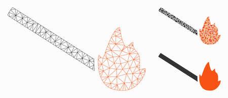 Modèle de flamme de match de maille avec l'icône de mosaïque de triangle. Maille polygonale en fil de fer de la flamme de l'allumette. Composition vectorielle de pièces triangulaires de différentes tailles et teintes de couleur. Flamme abstraite de match de maille 2d,