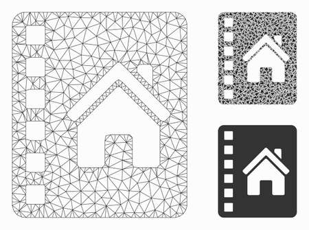 Mesh realty catalog model with triangle mosaic icon. Wire carcass triangular mesh of realty catalog. Vector mosaic of triangle elements in various sizes, and color tones.