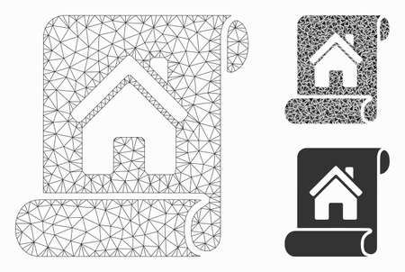 Mesh realty description roll model with triangle mosaic icon. Wire frame triangular mesh of realty description roll. Vector mosaic of triangle elements in various sizes, and color shades. Ilustrace