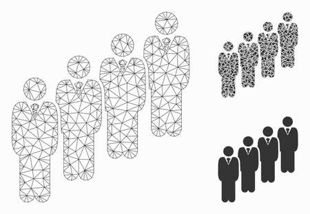 Mesh queue model with triangle mosaic icon. Wire frame triangular network of queue. Vector mosaic of triangle elements in various sizes, and color shades. Abstract 2d mesh queue,