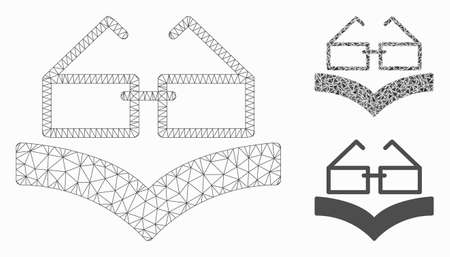 Mesh reading glasses model with triangle mosaic icon. Wire frame triangular mesh of reading glasses. Vector collage of triangle elements in different sizes, and color tints.