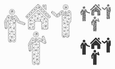 Mesh realty discuss persons model with triangle mosaic icon. Wire carcass polygonal mesh of realty discuss persons. Vector mosaic of triangle parts in various sizes, and color shades.