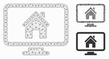 Mesh realty monitoring model with triangle mosaic icon. Wire frame triangular mesh of realty monitoring. Vector mosaic of triangle elements in variable sizes, and color tinges.