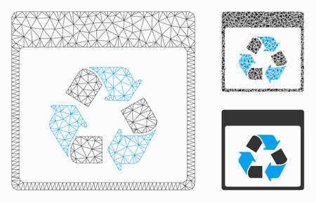 Mesh recycle calendar page model with triangle mosaic icon. Wire frame triangular mesh of recycle calendar page. Vector mosaic of triangle elements in different sizes, and color hues. 向量圖像