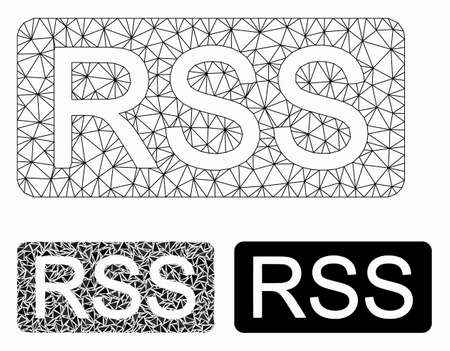 Mesh rss model with triangle mosaic icon. Wire frame triangular mesh of rss. Vector mosaic of triangle parts in various sizes, and color tinges. Abstract 2d mesh rss, created from triangular grid.