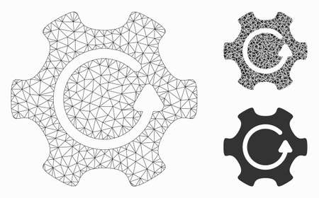 Mesh rotate gear model with triangle mosaic icon. Wire frame polygonal mesh of rotate gear. Vector composition of triangle elements in various sizes, and color tones. Abstract flat mesh rotate gear,
