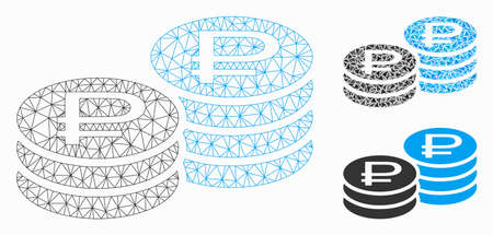 Mesh rouble coin stacks model with triangle mosaic icon. Wire frame polygonal mesh of rouble coin stacks. Vector mosaic of triangle elements in different sizes, and color tones.