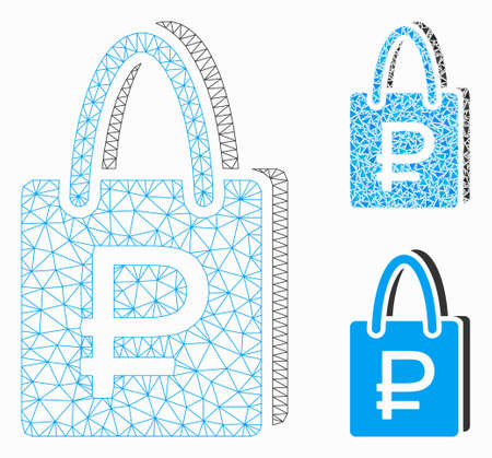Mesh rouble shopping model with triangle mosaic icon. Wire frame polygonal mesh of rouble shopping. Vector mosaic of triangle parts in variable sizes, and color hues.