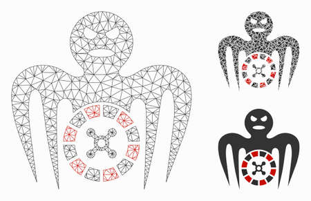 Mesh roulette spectre monster model with triangle mosaic icon. Wire frame triangular mesh of roulette spectre monster. Vector mosaic of triangles in variable sizes, and color tones. Illustration