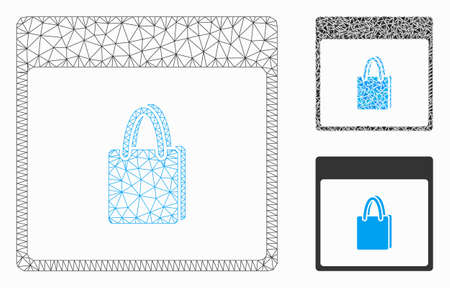 Mesh shopping bag calendar page model with triangle mosaic icon. Wire frame triangular mesh of shopping bag calendar page. Vector mosaic of triangle elements in variable sizes, and color tinges.