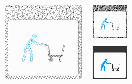 Mesh shopping cart calendar page model with triangle mosaic icon. Wire frame polygonal mesh of shopping cart calendar page. Vector mosaic of triangle elements in variable sizes, and color hues.