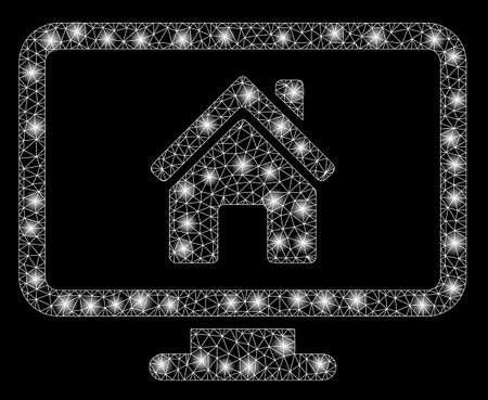 Glossy mesh realty monitoring with sparkle effect. Abstract illuminated model of realty monitoring icon. Shiny wire frame triangular mesh realty monitoring. Vector abstraction on a black background.