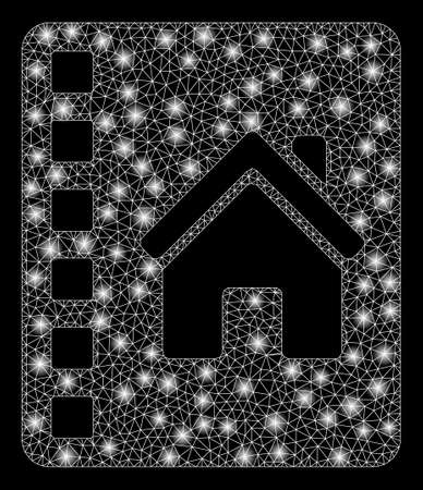 Glowing mesh realty catalog with sparkle effect. Abstract illuminated model of realty catalog icon. Shiny wire frame triangular mesh realty catalog. Vector abstraction on a black background.