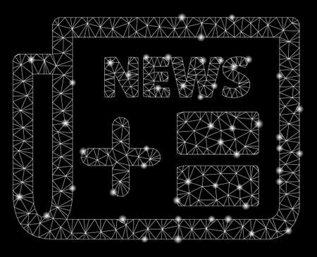 Glowing mesh medicine newspaper with sparkle effect. Abstract illuminated model of medicine newspaper icon. Shiny wire carcass polygonal mesh medicine newspaper. Illustration
