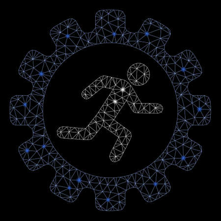Bright mesh gear rat race with glow effect. Abstract illuminated model of gear rat race icon. Shiny wire frame polygonal mesh gear rat race. Vector abstraction on a black background.